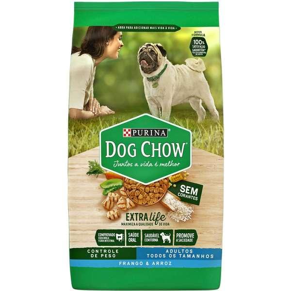 Ração Seca Dog Chow Controle de Peso Frango e Arroz para Cães Adultos Todos os Tamanhos 15Kg