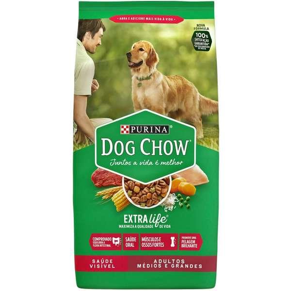 Ração Seca Dog Chow Extra Life Cães Adultos Raças Médias e Grandes 15Kg