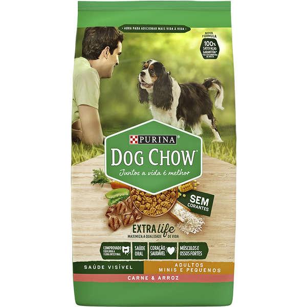 Ração Seca Dog Chow Extra Life Carne e Arroz para Cães Adultos Raças Minis e Pequenas 15Kg