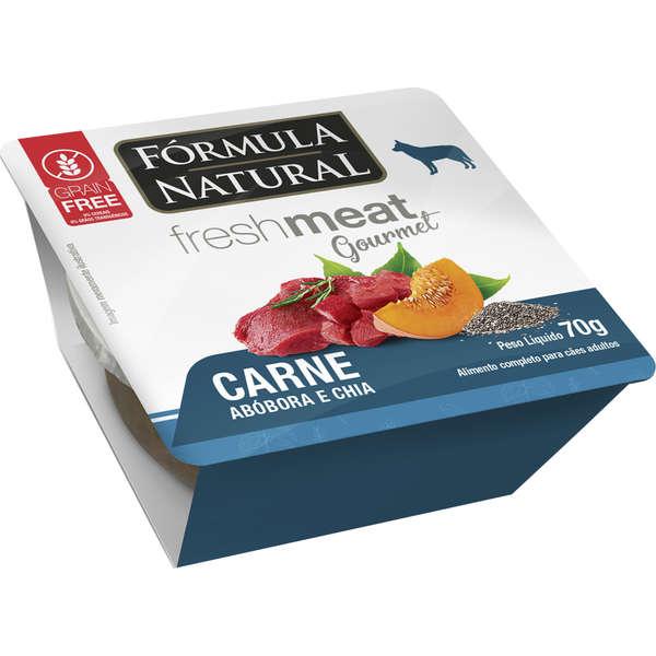 Ração Úmida Fórmula Natural Fresh Meat Gourmet Carne, Abóbora e Chia para Cães Adultos 70g