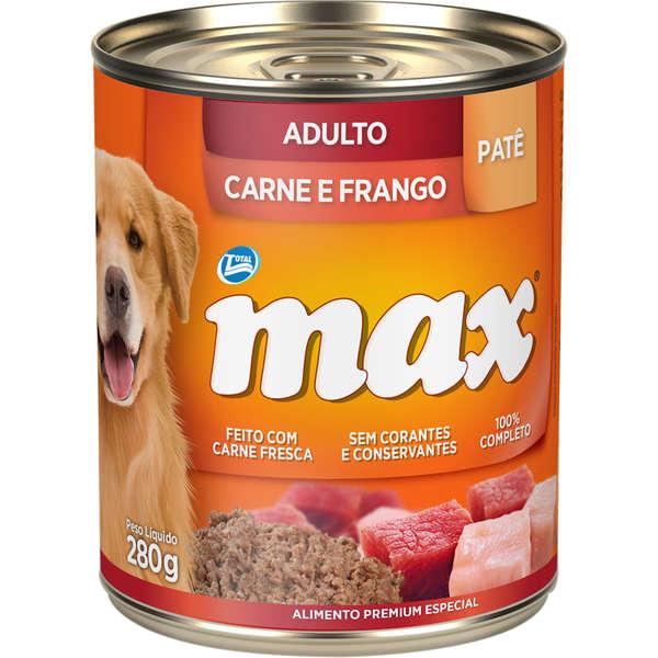 Ração Úmida Lata Max Cães Adultos Patê Carne e Frango 280g