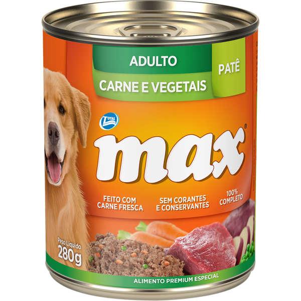 Ração Úmida Lata Max Cães Adultos Patê Carne e Vegetais 280g