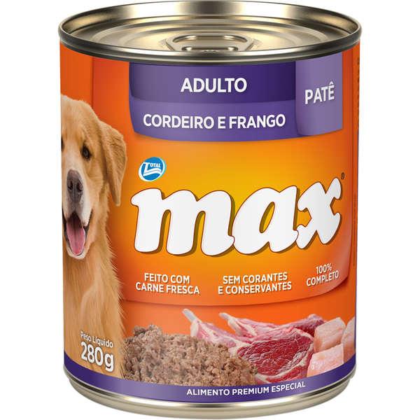 Ração Úmida Lata Max Cães Adultos Patê Cordeiro e Frango 280g
