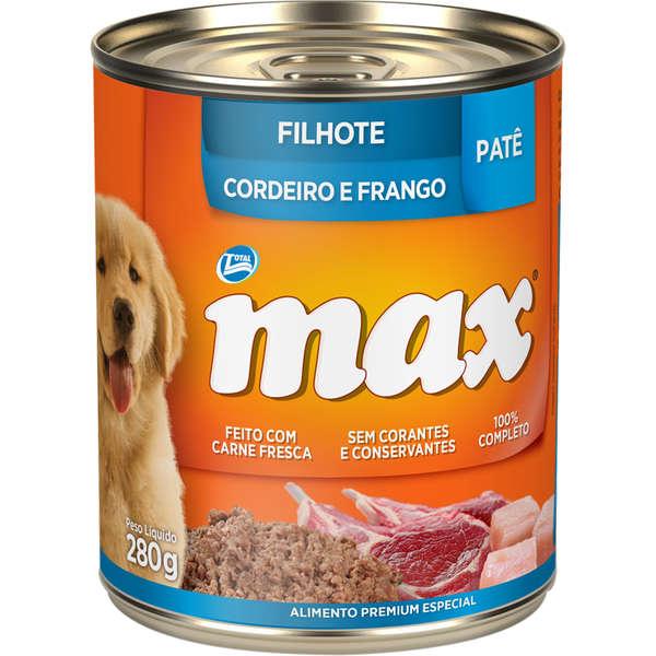 Ração Úmida Lata Max Cães Filhotes Patê Cordeiro e Frango 280g