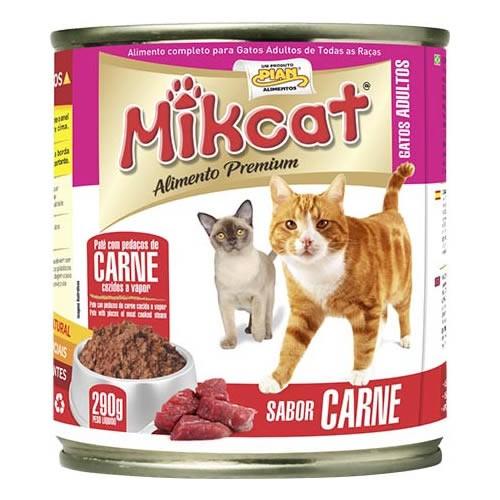 Ração Úmida Patê MikCat Carne Lata 290g