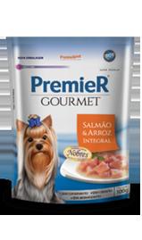 Ração Úmida Sachê Premier Gourmet para Cães Sabor Salmão e Arroz Integral 100g