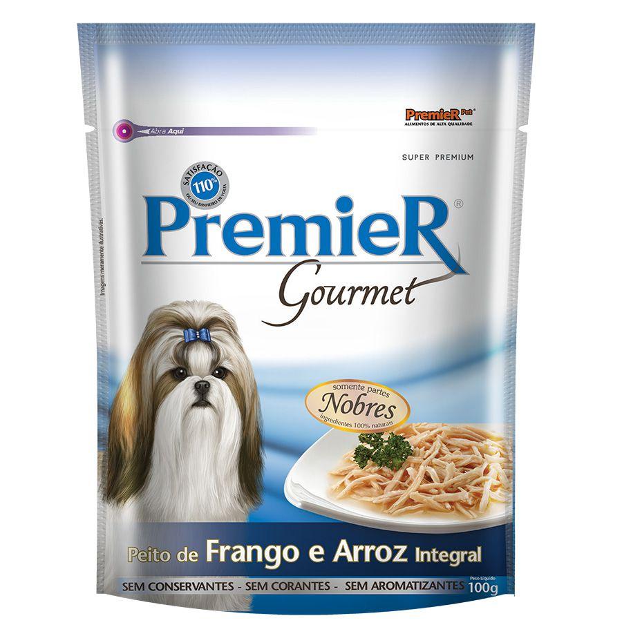 Ração Úmida Sachê Premier Gourmet para Cães Sabor Peito de Frango e Arroz Integral 100g