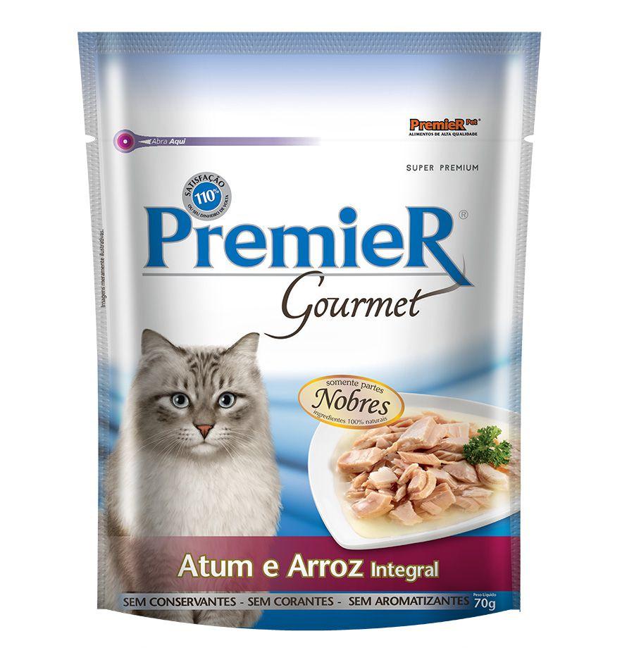 Ração Úmida Sachê Premier Gourmet para Gatos Sabor Atum e Arroz Integral 70g