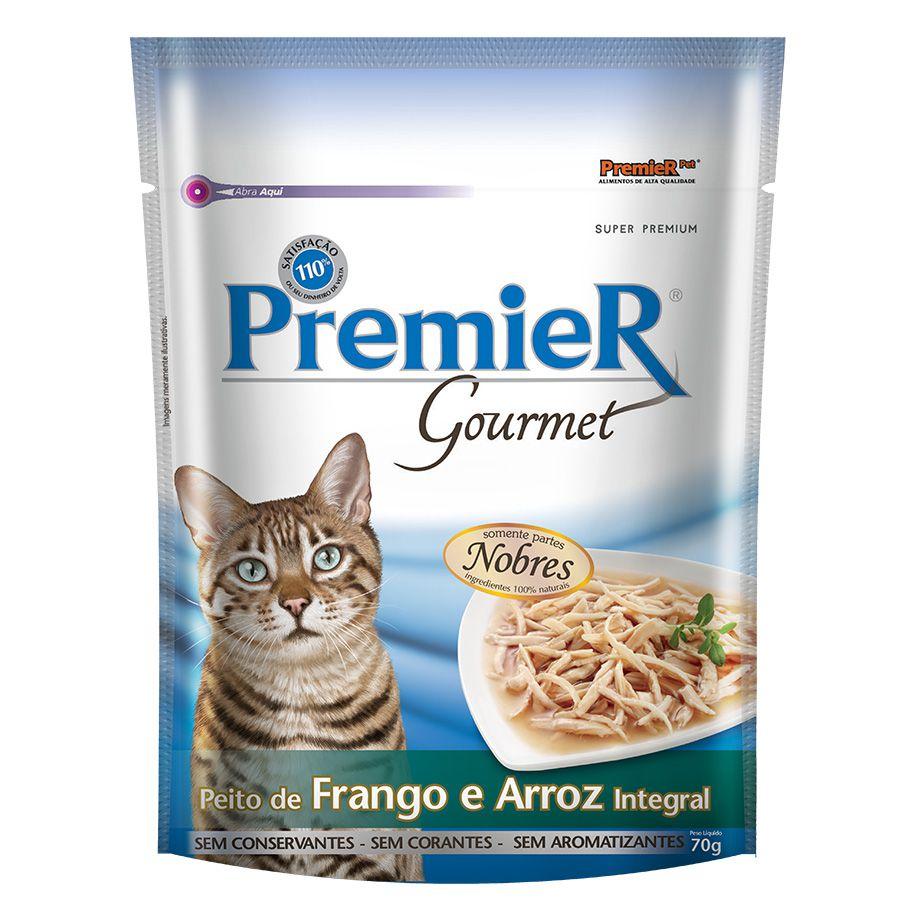 Ração Úmida Sachê Premier Gourmet para Gatos Sabor Peito de Frango e Arroz Integral 70g