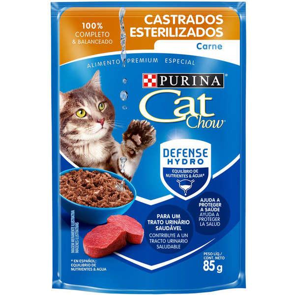 RAÇÃO ÚMIDA SACHÊ CAT CHOW CASTRADOS SABOR CARNE 85G