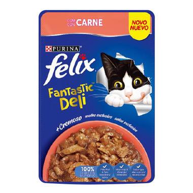 Ração Úmida Sachê Felix Fantastic Deli Carne para Gatos Adultos 85g