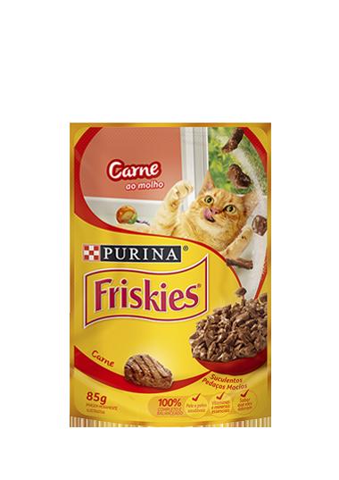 Ração Úmida Sachê Friskies para Gatos Adultos Sabor Carne ao Molho 85g