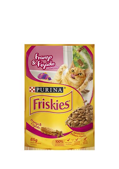 Ração Úmida Sachê Friskies para Gatos Adultos Sabor Frango e Fígado 85g