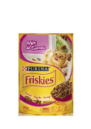 Ração Úmida Sachê Friskies para Gatos Adultos Sabor Mix de Carnes ao Molho 85g