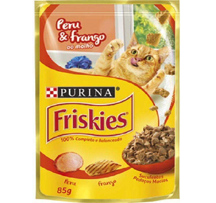 Ração Úmida Sachê Friskies para Gatos Adultos Sabor Peru e Frango 85g