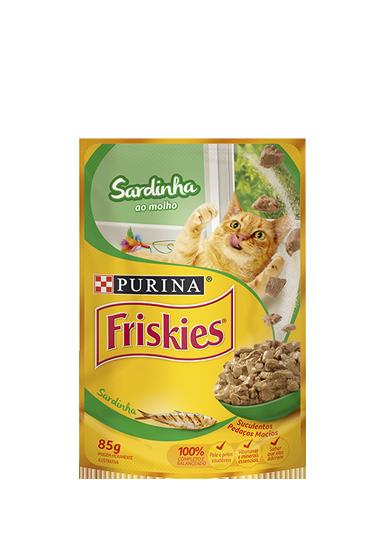 Ração Úmida Sachê Friskies para Gatos Adultos Sabor Sardinha ao Molho 85g