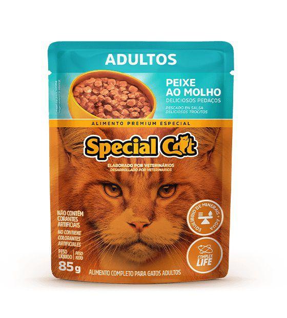 Ração Úmida Sachê Special Cat para Gatos Adultos Sabor Peixe 85g