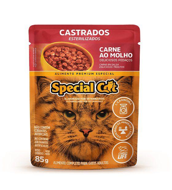 Ração Úmida Sachê Special Cat para Gatos Castrados Sabor Carne 85g