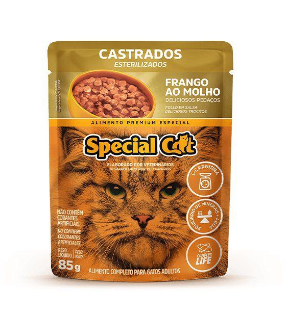 Ração Úmida Sachê Special Cat para Gatos Castrados Sabor Frango 85g
