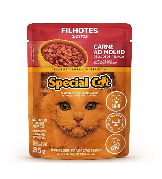 Ração Úmida Sachê Special Cat para Gatos Filhotes Sabor Carne 85g