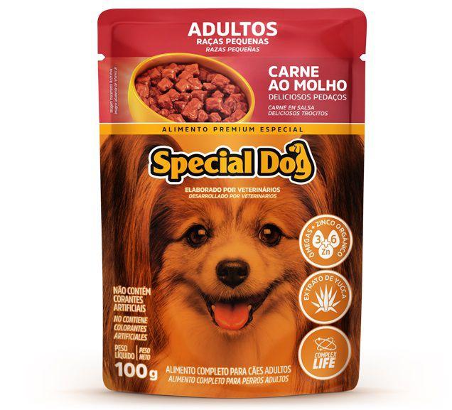 Ração Úmida Sachê Special Dog para Cães Adultos de Raças Pequenas Sabor Carne 100g