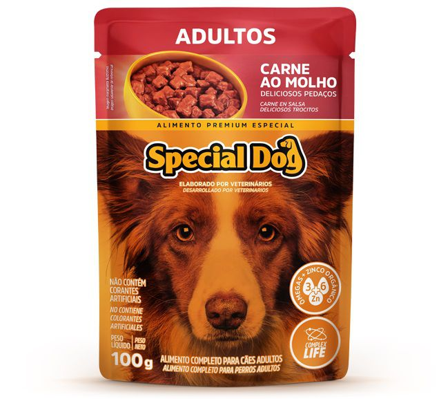 Ração Úmida Sachê Special Dog para Cães Adultos Sabor Carne 100g