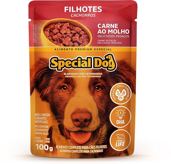 Ração Úmida Sachê Special Dog para Cães Filhotes Sabor Carne 100g