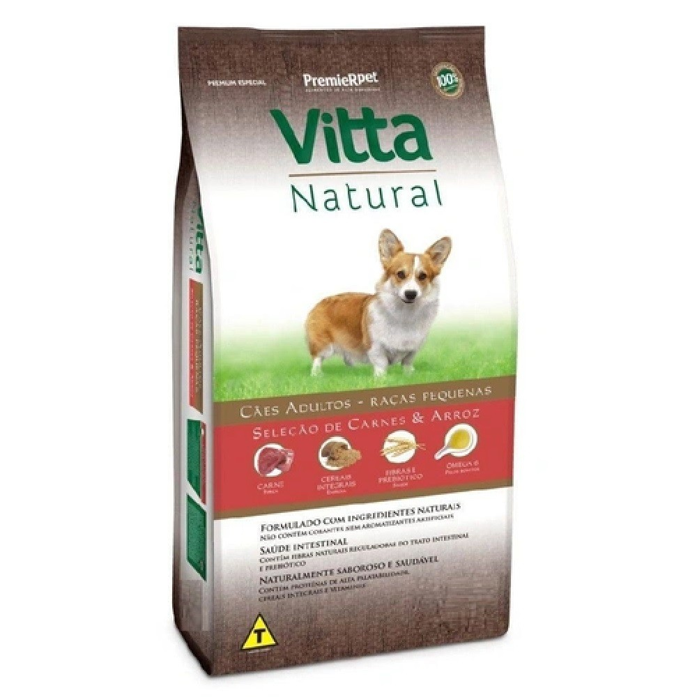 Ração Vitta Natural para Cães Adultos de Porte Pequeno sabor Carne e Arroz  15Kg