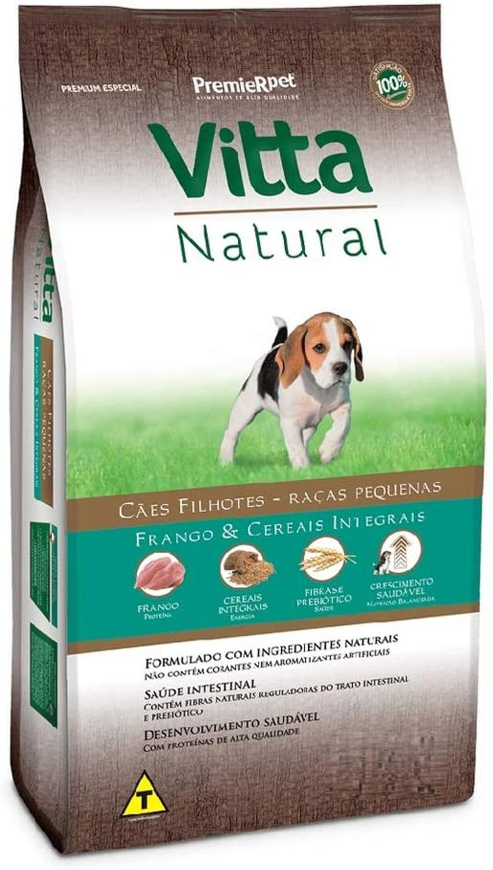 Ração Vitta Natural para Cães Filhotes de Raças Pequenas sabor Frango e Cereais 15Kg