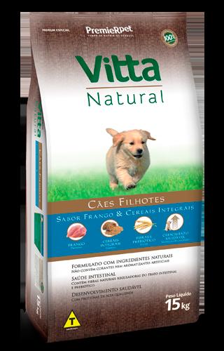 Ração Vitta Natural para Cães Filhotes sabor Frango e Cereais 15Kg