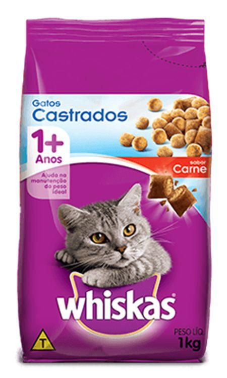 Ração Whiskas para Gatos Adultos Castrados Sabor Carne