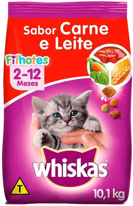Ração Whiskas para Gatos Filhotes Sabor Carne e Leite 10,1 Kg