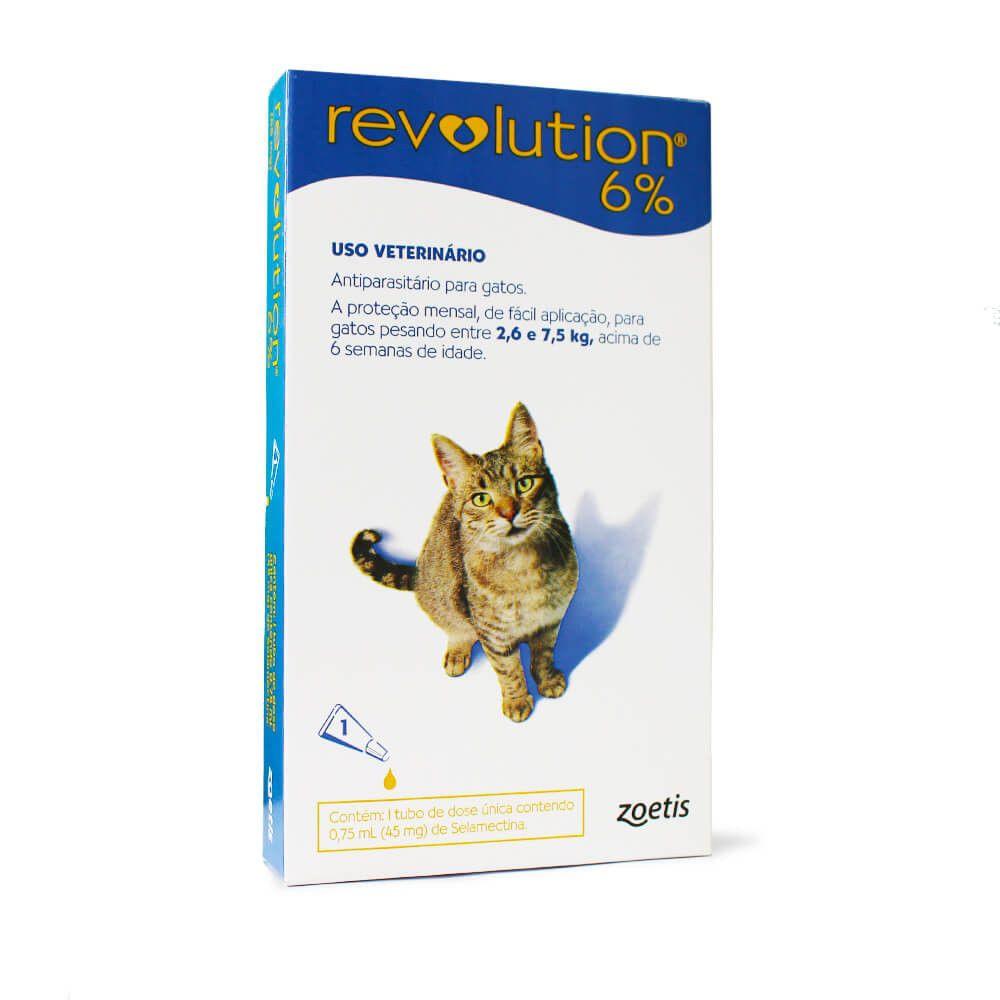 Revolution 6% Para Gatos De 2,6 A 7,5kg (zoetis) - 1 Pipeta