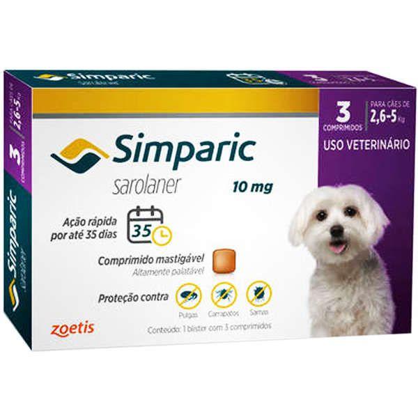 Simparic Antipulgas e Carrapatos 10mg para Cães de 2,6 a 5 Kg - 3 Comprimidos