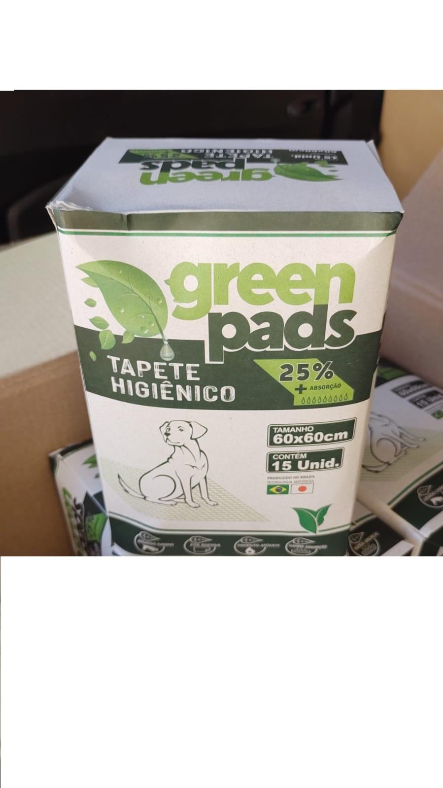 Tapete Higiênico Green Pads 60x60cm 15 Unidades