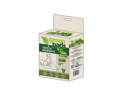 Tapete Higiênico Green Pads 80x60cm 15 Unidades