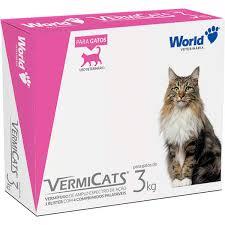 Vermífugo para Gatos de 3Kg Vermicats 4 Comprimidos Palatáveis