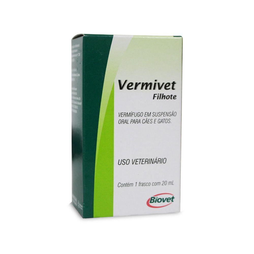 Vermífugo Biovet Vermivet para Cães e Gatos Filhotes - 20 ml