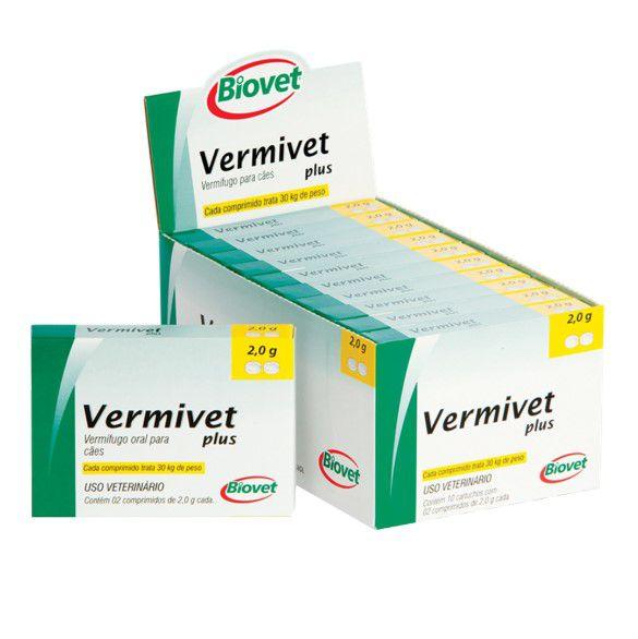 Vermífugo Oral Para Cães Vermivet Plus 2,0 Mg 2 Comprimidos - Biovet