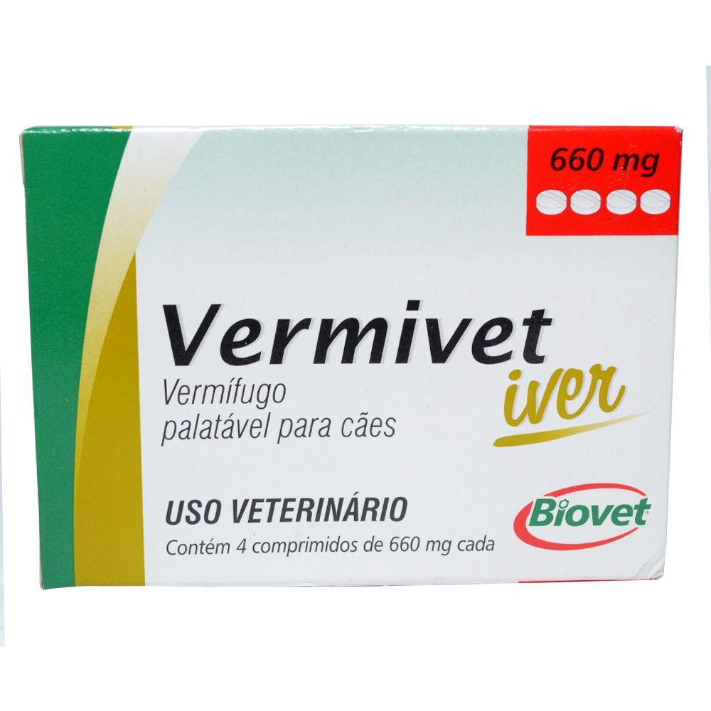Vermífugo Palatável Para Cães Vermivet Iver 660 Mg 4 Comprimidos - Biovet