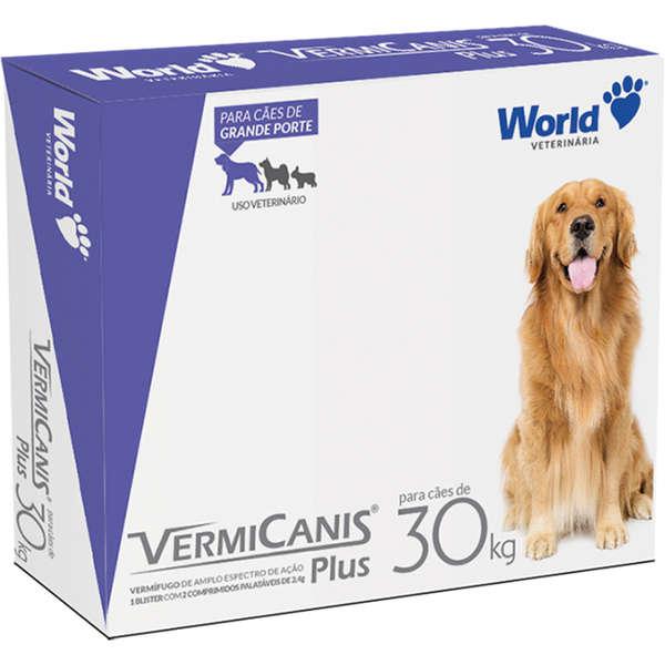 Vermifugo Para Cães de 30kg Vermicanis Plus 2 Comprimidos Palatáveis