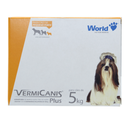 Vermifugo Para Cães de 5kg Vermicanis Plus 4 Comprimidos Palatáveis