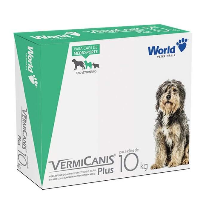 Vermifugo Para Cães de 10kg Vermicanis Plus 4 Comprimidos Palatáveis