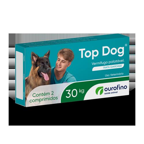 Vermífugo Top Dog 30 KG Ourofino com 2 Comprimidos