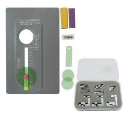 Kit de base de apoio para costurar círculos com conjunto de sapatas para bainha e viés máquina doméstica