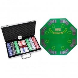 Kit Maleta com 300 Fichas e Mesa para Poker