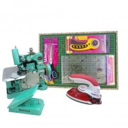 Kit Máquina de Costura Overloque GN-1 + Kit Artesão + Mini Ferro