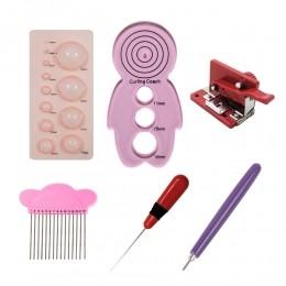 Kit para quilling com réguas bolha boneco com pente para papel furador de agulha ferramenta fringer e esteca