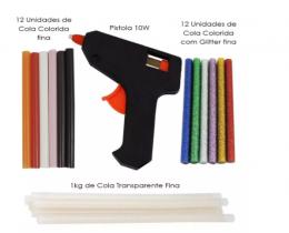 Kit Pistola + Cola Quente Transparente , Colorida e com Glitter