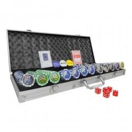Maleta de Poker com 500 Fichas Numeradas com Ficha Small Bling  Big Blind e Dealer